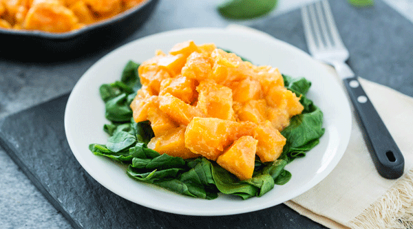 Miso-Glazed Butternut Squash with Spinach