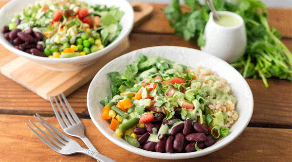 Rice Bowls with Kidney Beans, Spinach, and Mixed Veggies