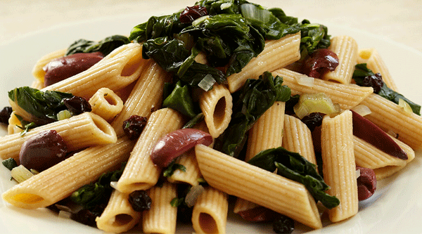 Penne with Swiss Chard, Olives, and Currants
