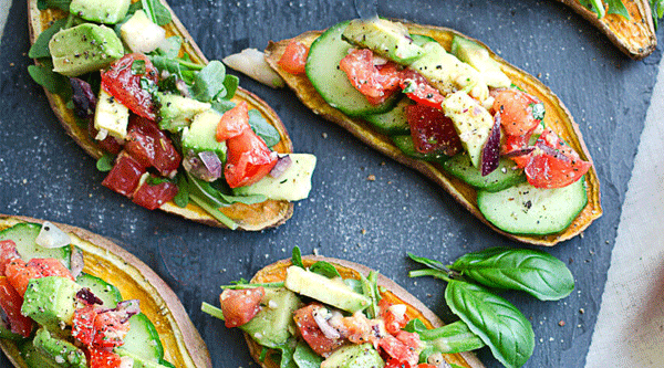 Sweet Potato Bruschetta with Avocado-Tomato Topping
