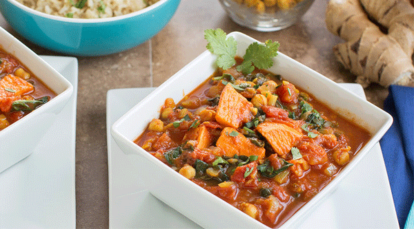 Yam Chickpea Spinach Curry